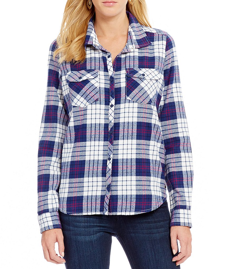 Roxy Squary Cool Plaid Long-Sleeve Flannel Shirt