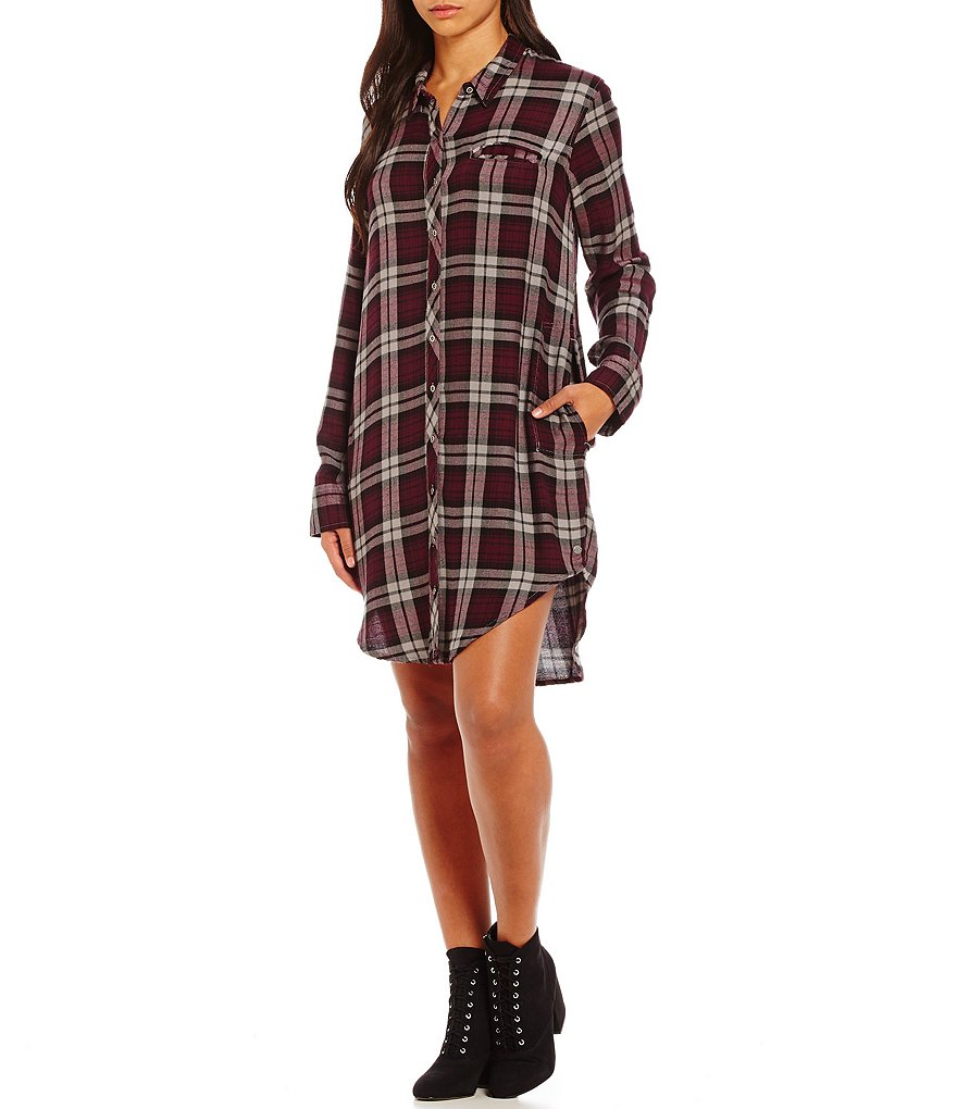 Roxy Woodwork Plaid Shirt Dress