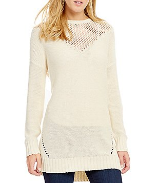 Roxy Borrowed Time Pointelle-Stitch Illusion-Yoke Sweater