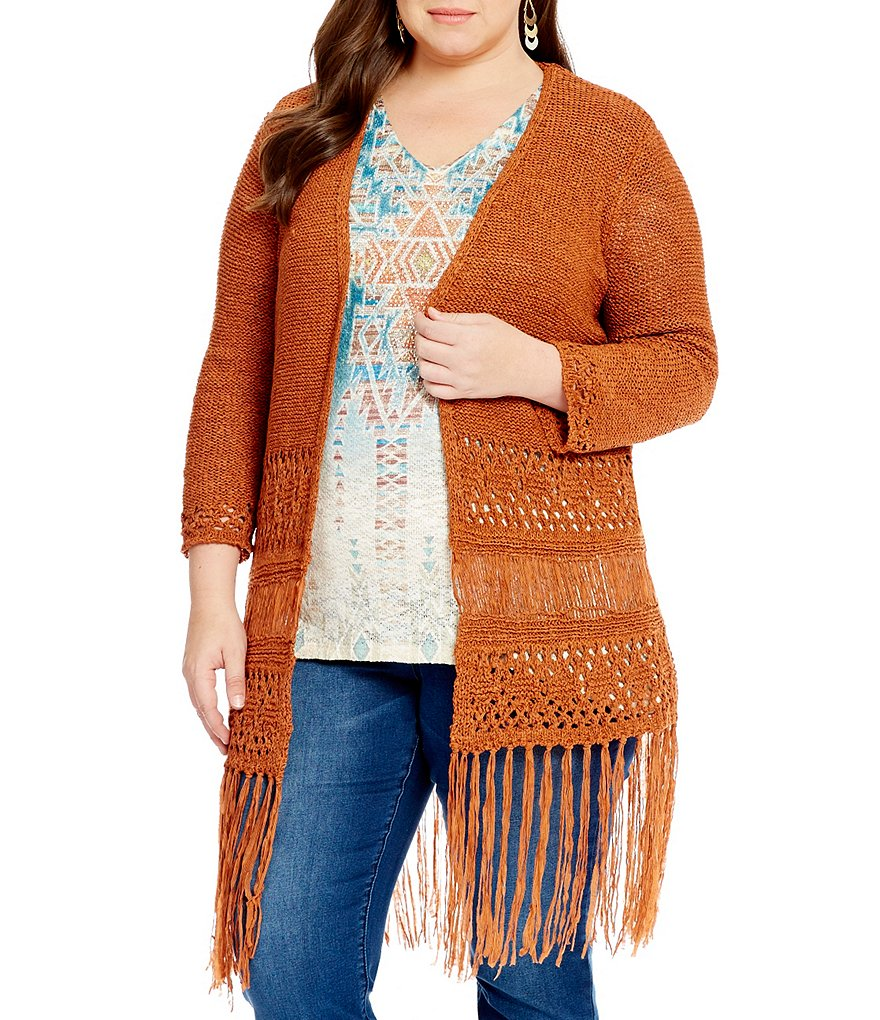 Reba Plus Long Fringe Cardigan