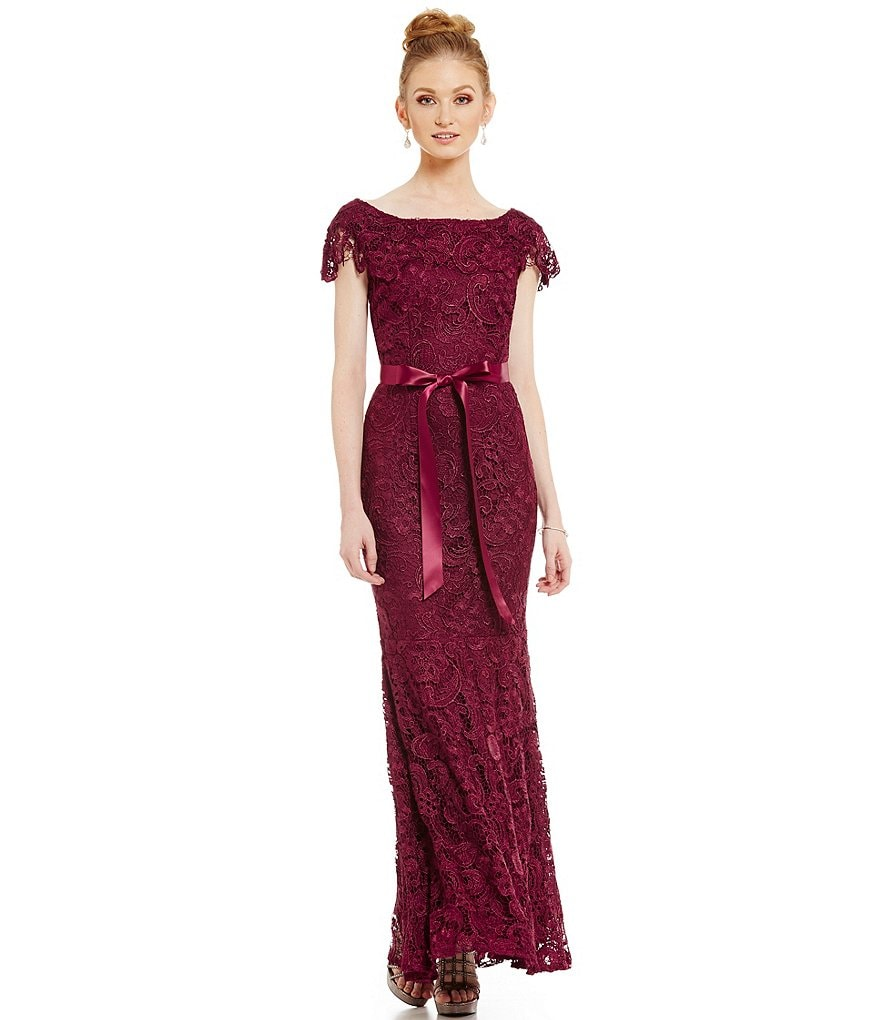 Emma Street Cap Sleeve Embroidered Lace Gown