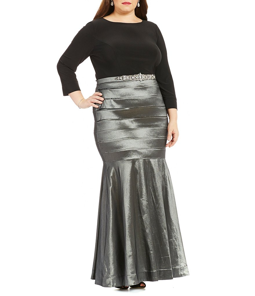Emma Street Plus 3/4 Sleeve Mock 2-Piece Empire Waist Banded Gown