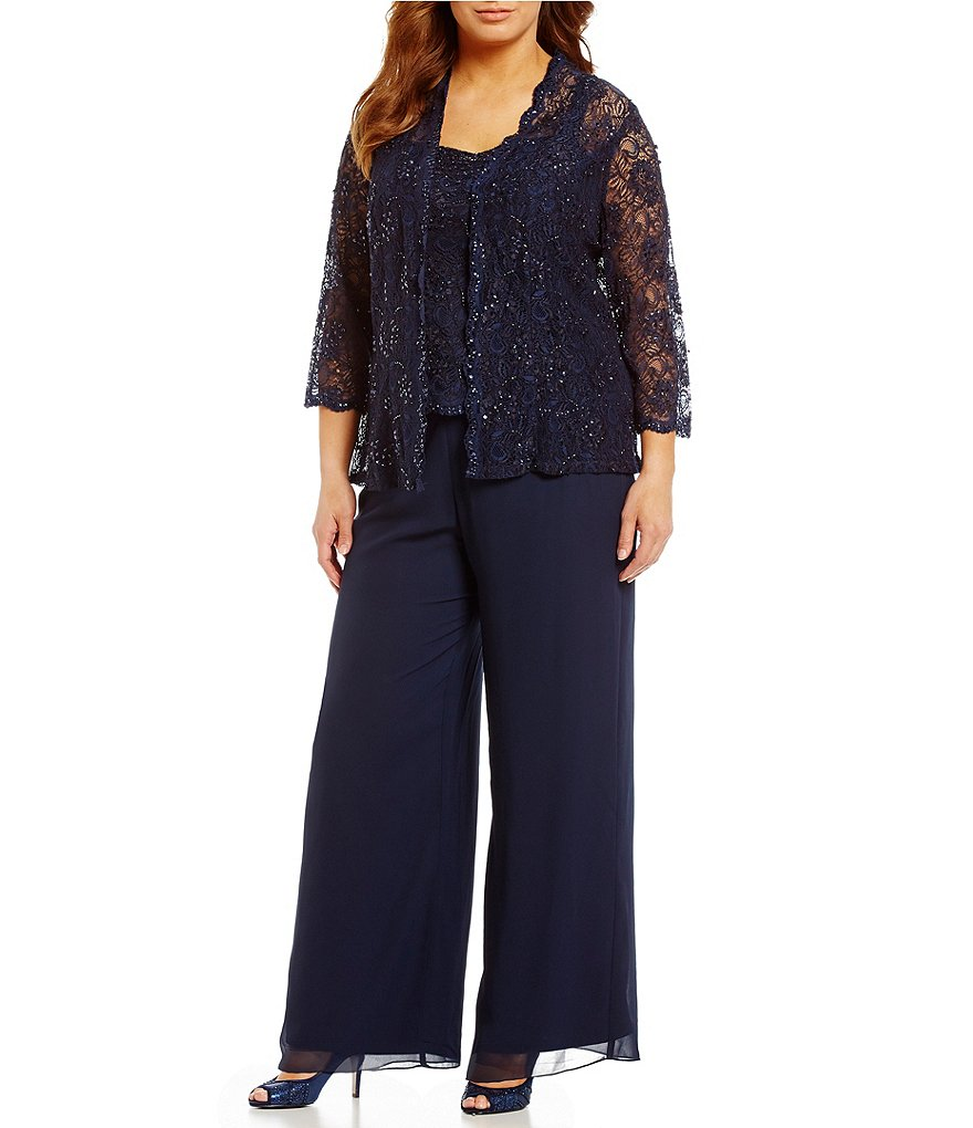 Emma Street Plus Beaded Lace & Chiffon Pant Set