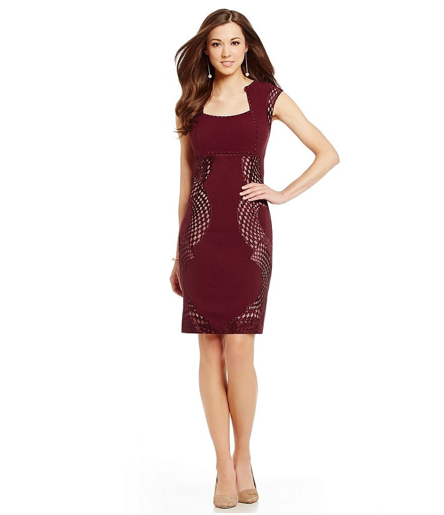 Antonio Melani Ever Stretch Twill Mesh Sheath Dress