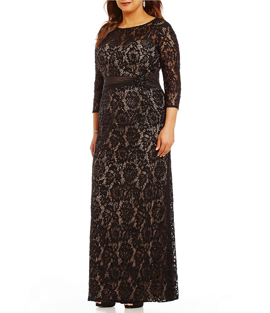Emma Street Plus 3/4 Sleeve Embellished-Trim Lace Gown
