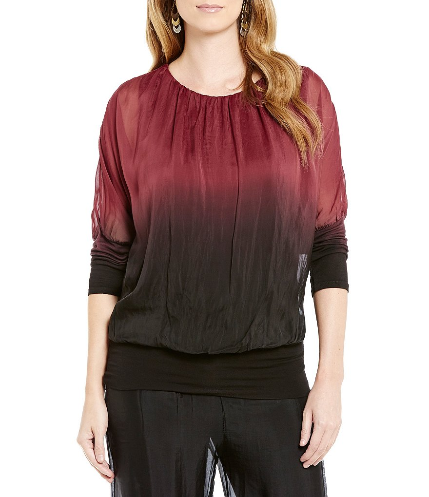 M Made In Italy Ombre Scoop Neck 3/4 Sleeve Top