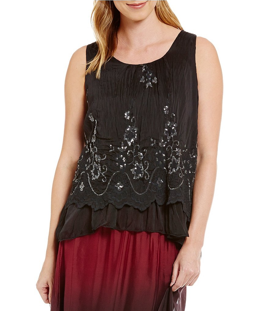 M Made In Italy Sequin Ruffle Overlay Tank