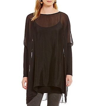 M Made In Italy Long Sleeve Silk Overlay Tunic