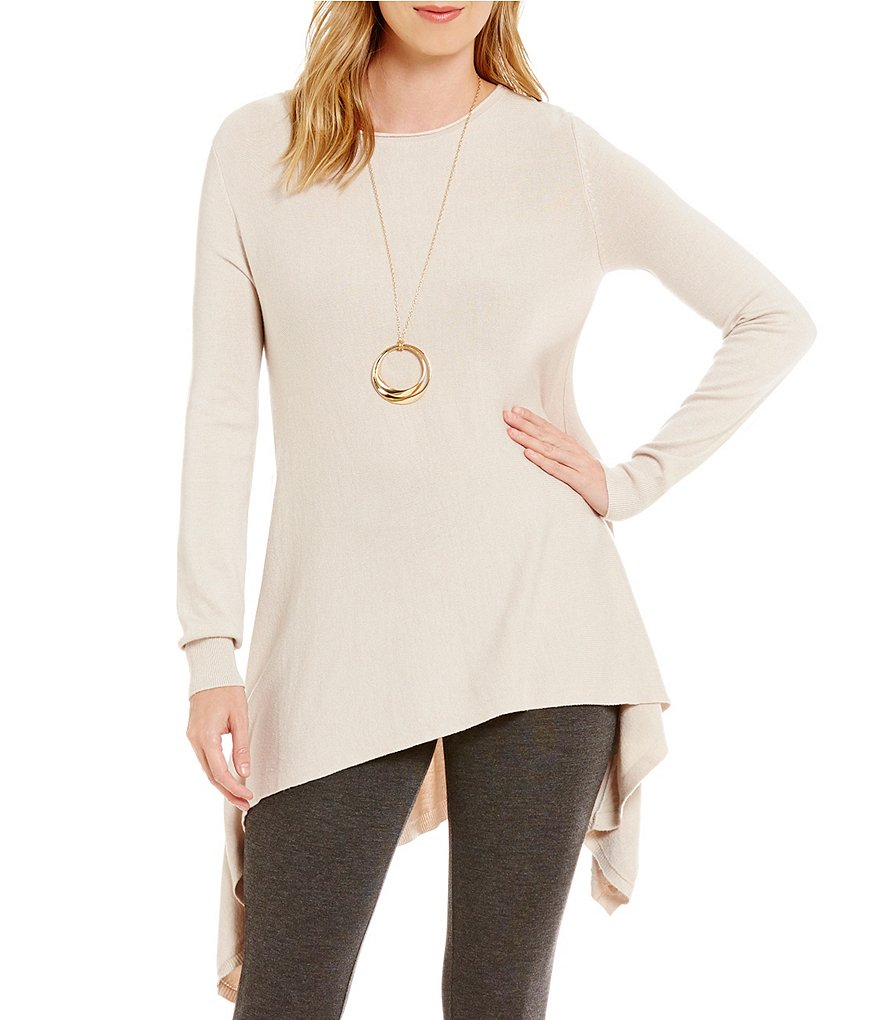 M Made In Italy Sharkbite Hem Long Sleeve Cashmere Tunic