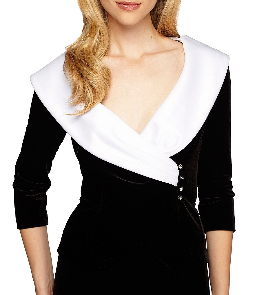 Alex Evenings Satin Collar 3/4 Sleeve Velvet Top