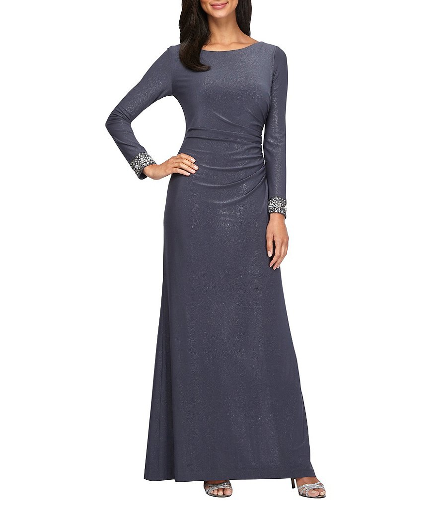 Alex Evenings Beaded Illusion Long Sleeve A-line Gown