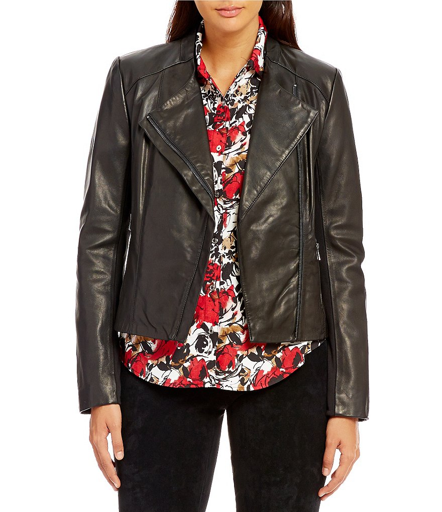 KARL LAGERFELD PARIS Front Zip Leather Jacket