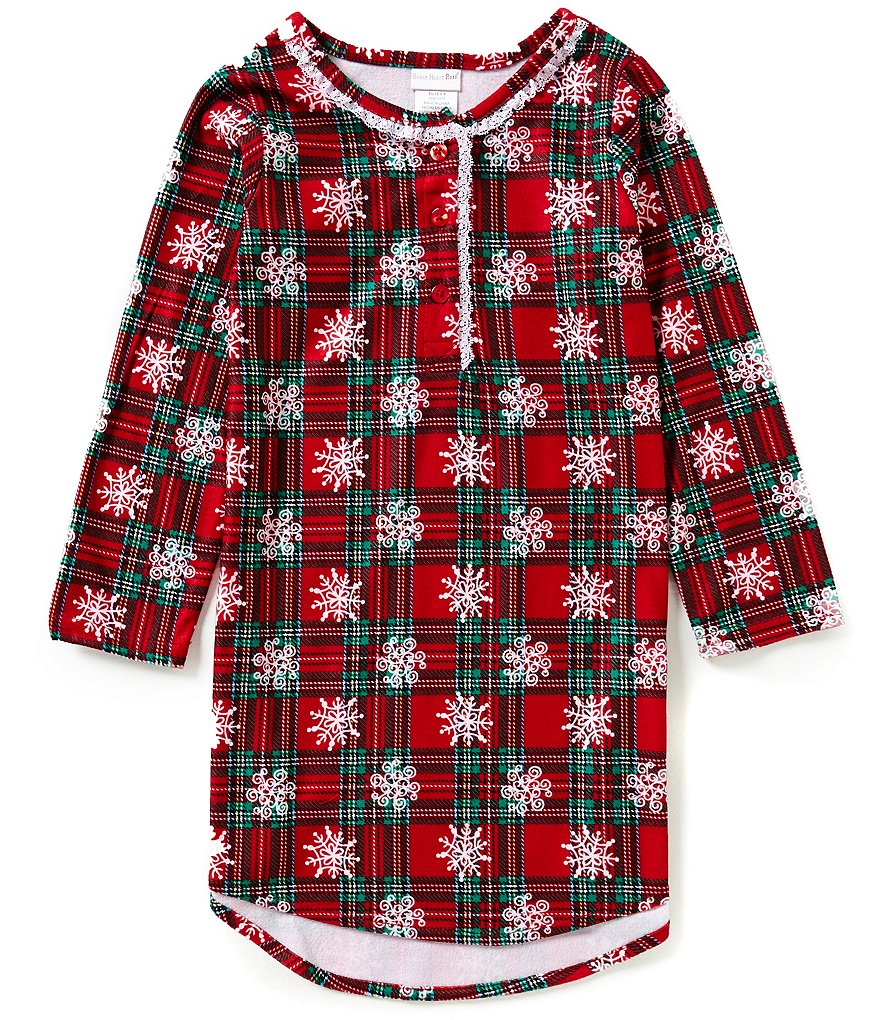 Sweet Heart Rose Little/Big Girls 6X-14 Christmas Snowflake-Plaid Nightgown