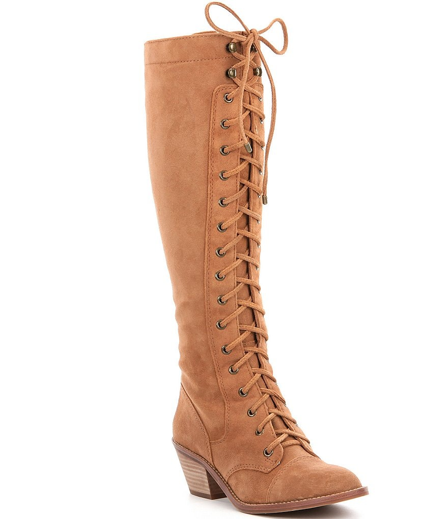 Gianni Bini Rhodi Suede Wide Calf Lace-Up Boots