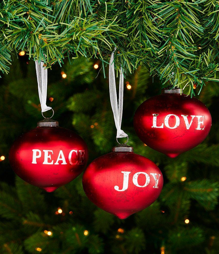 Southern Living Joy, Peace & Love 3-Piece Ornament Set