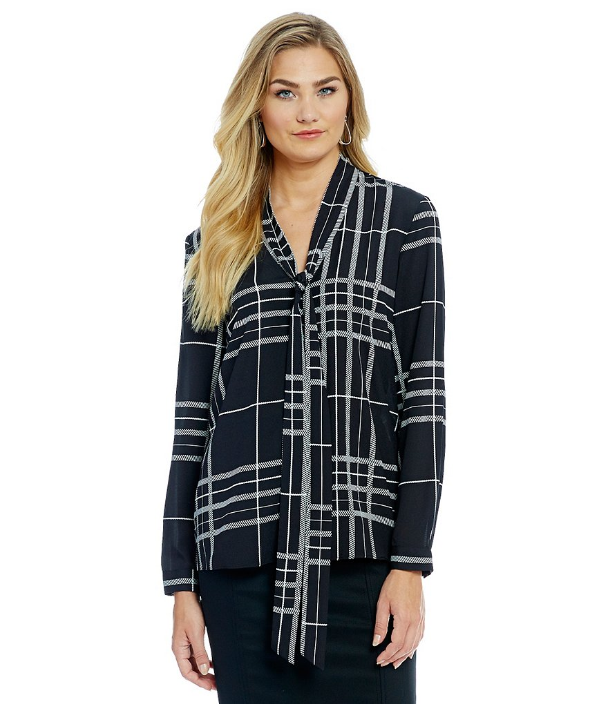 Alex Marie Romantic Semantics Paulina Tie-Neck Plaid Woven Blouse