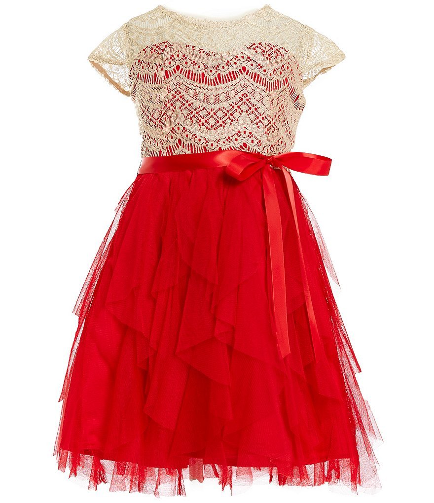 Rare Editions Big Girls 7-16 Lace Bow Cascade Dress