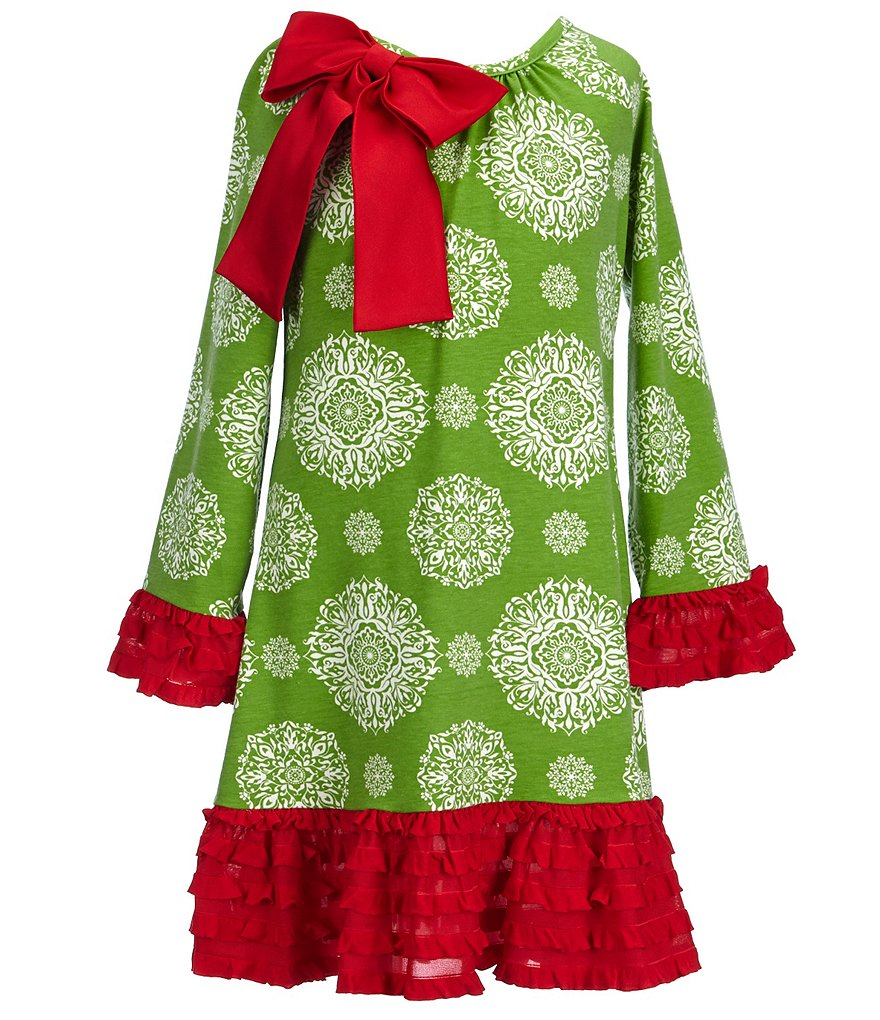 Counting Daisies Big Girls 7-16 Christmas Ruffle-Trimmed Medallion-Print Dress