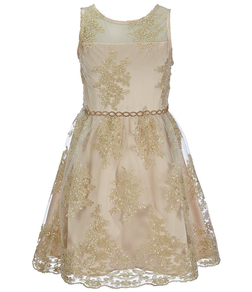 Chantilly Place Big Girls 7-16 Illusion Embroidered Scalloped-Hemline Skater Dress