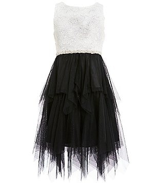 Tween Diva Big Girls 7-16 Embellished Lace To Mesh Dress