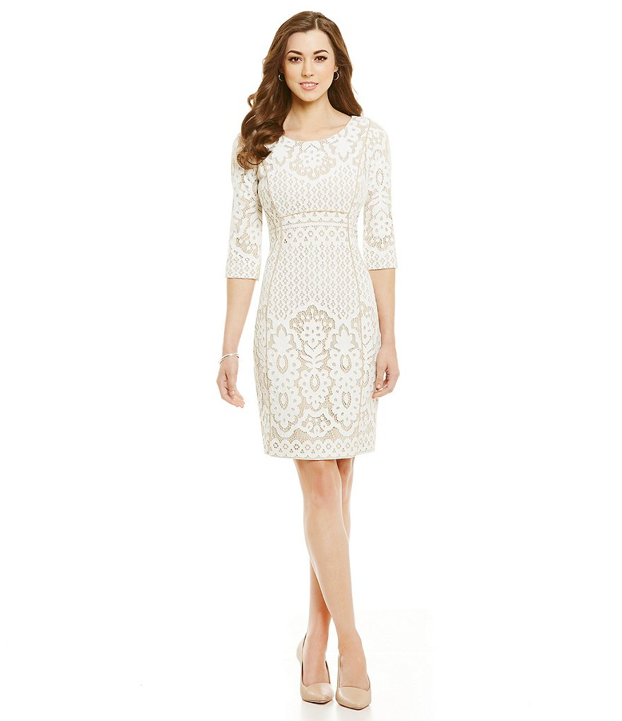 Antonio Melani Bettye Lace/Crepe Sheath Dress