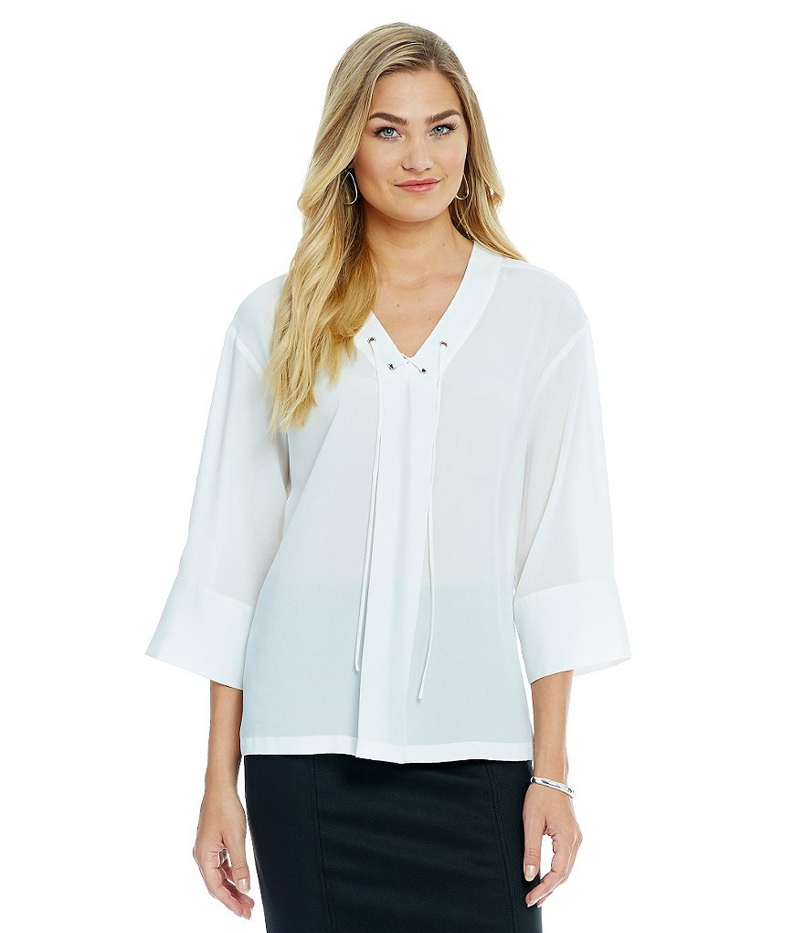 Alex Marie Romantic Semantics Eloise Lace-Up Woven Peasant Blouse