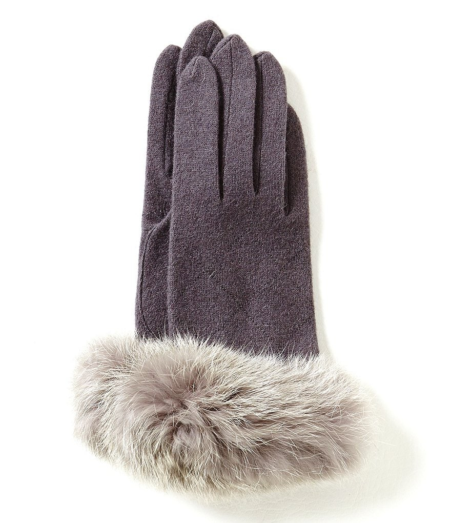 Dillard´s Fur-Cuff Wool-Blend Gloves