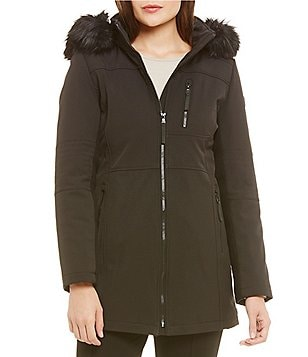 Calvin Klein Soft Shell Faux Fur Hooded Coat