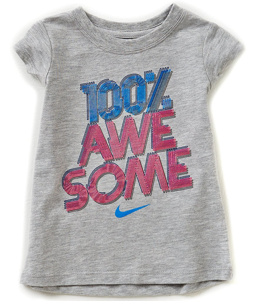 Nike Little Girls 2T-6X 100 Percent Awesome Modern Tee
