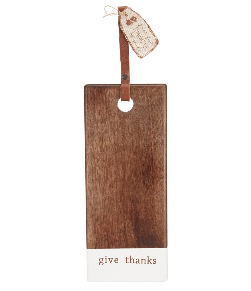 Mud Pie Thanksgiving Give Thanks Wood Board with Leather Handle
