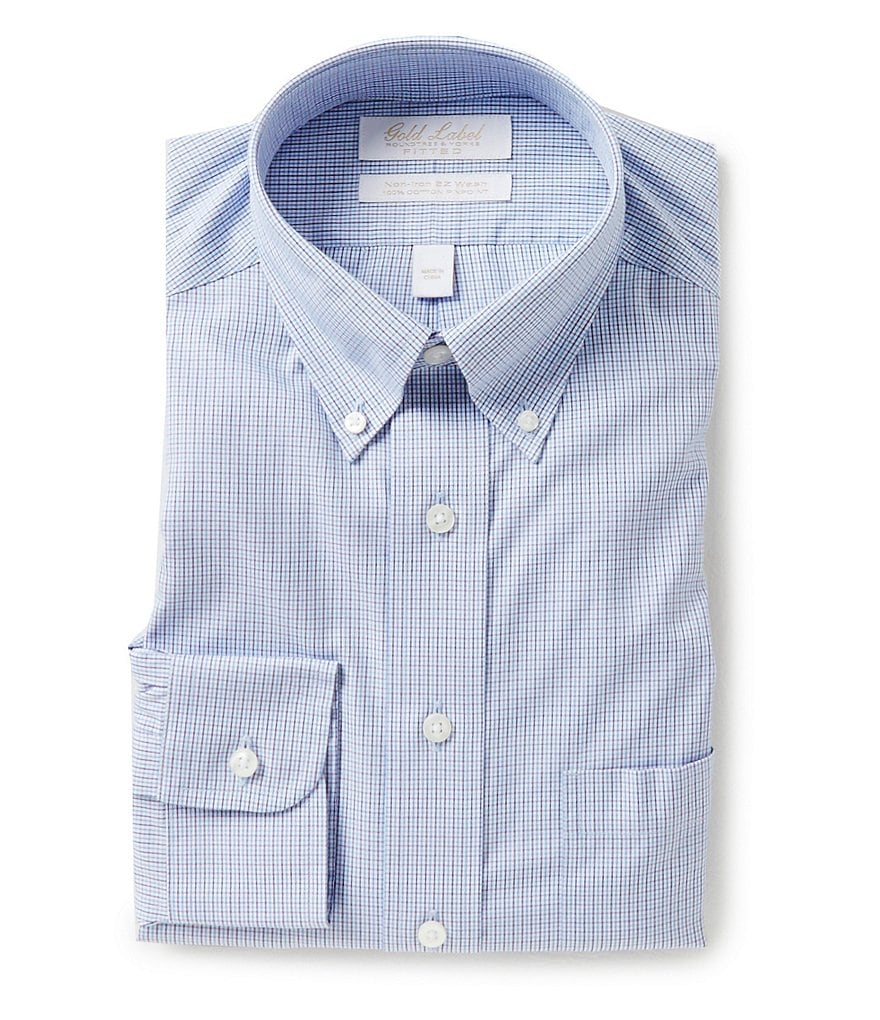 Gold Label Roundtree & Yorke Non-Iron Fitted Classic-Fit Button-Down Collar Checked Dress Shirt