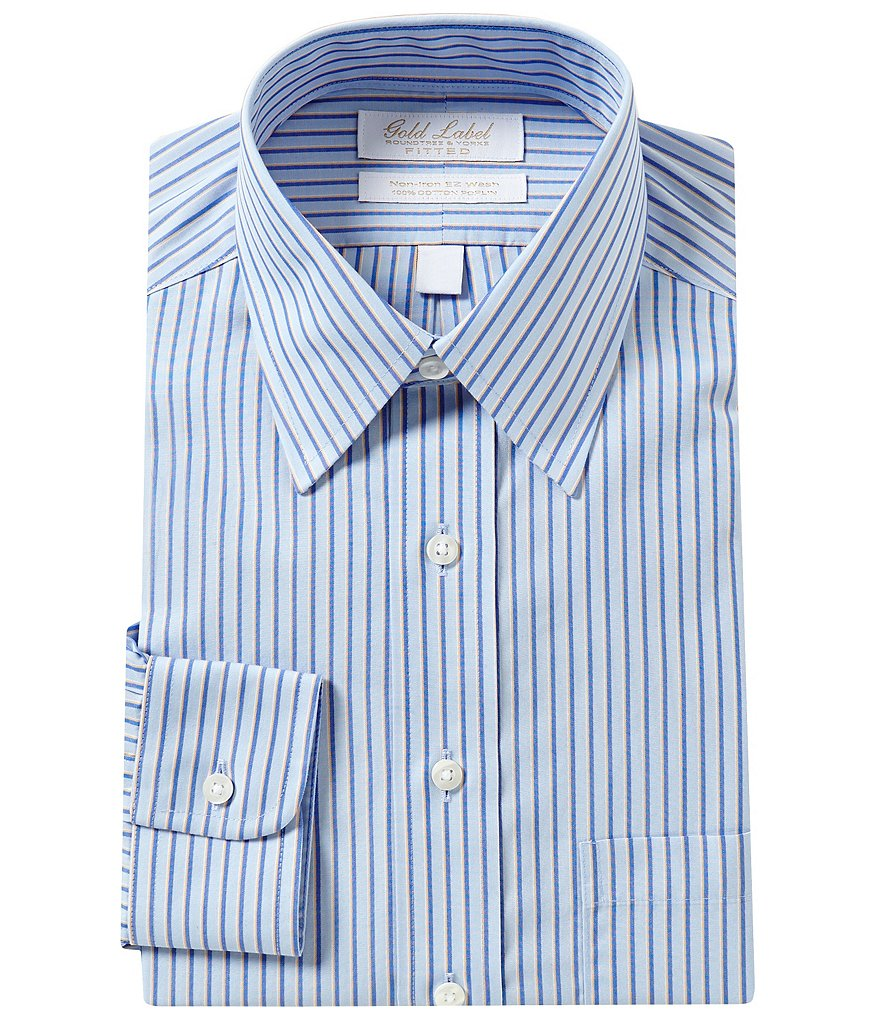 Gold Label Roundtree & Yorke Non-Iron Fitted Classic-Fit Point-Collar Striped Dress Shirt