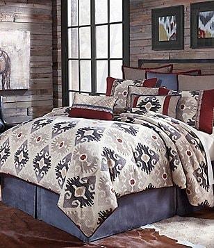 Veratex Sierra Ikat Chenille Jacquard & Faux-Suede Comforter Set