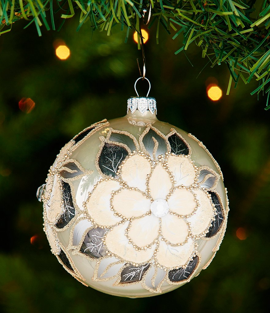 Southern Living Hand-Painted Magnolia Ball Ornament