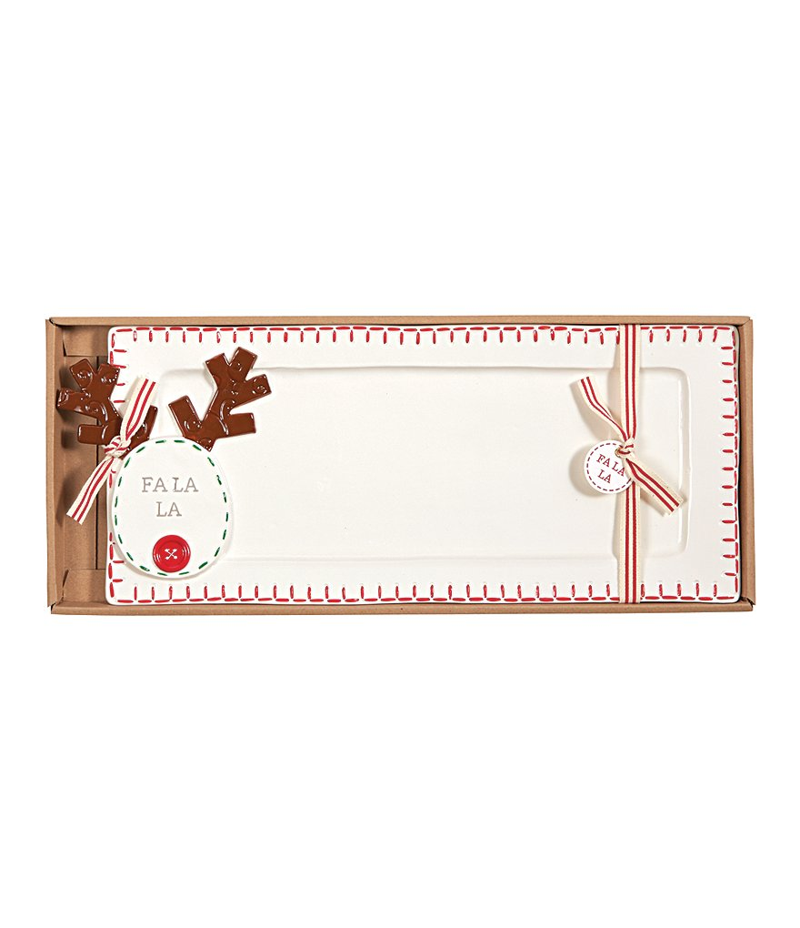 Mud Pie Holiday Fa La La Reindeer Hostess Tray