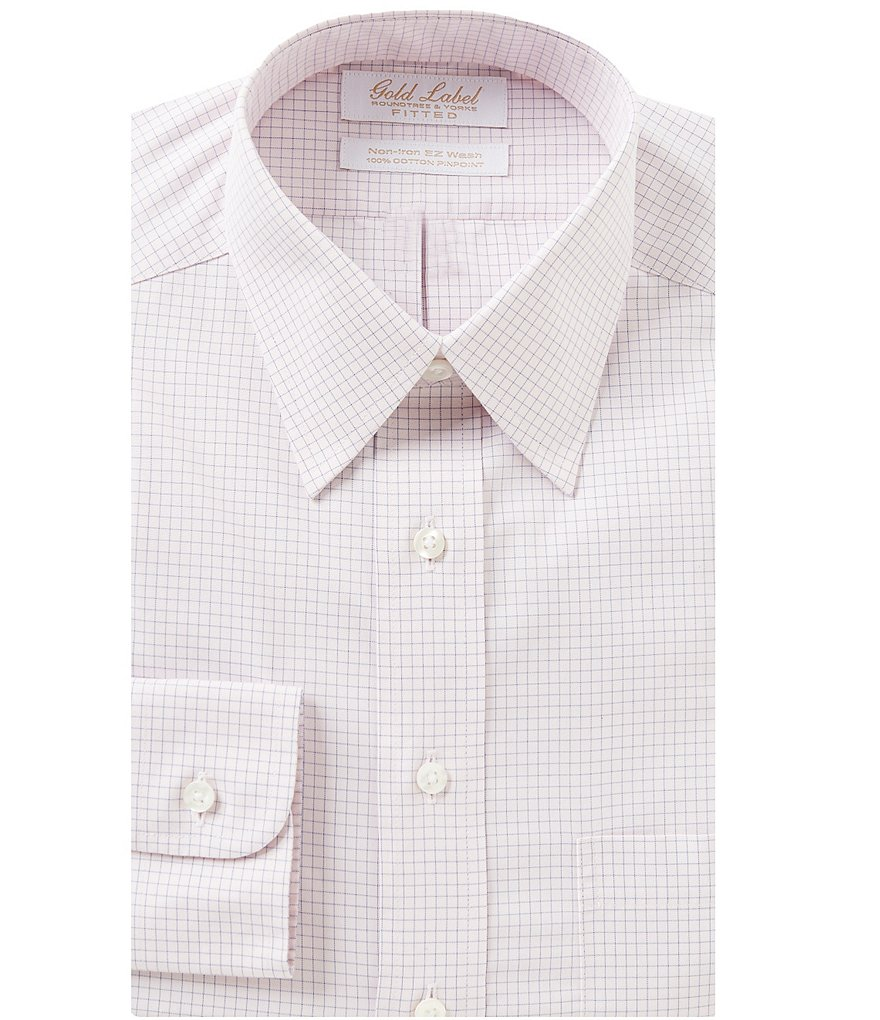 Gold Label Roundtree & Yorke Non-Iron Fitted Classic-Fit Point-Collar Checked Dress Shirt