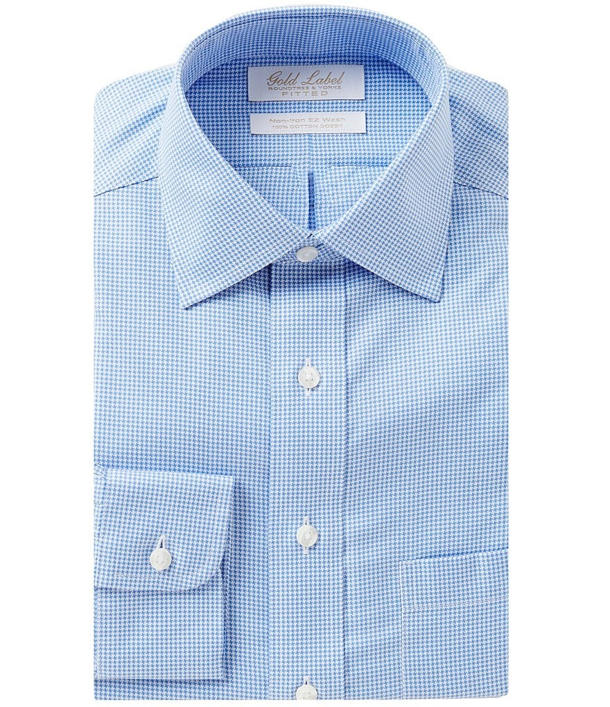 Gold Label Roundtree & Yorke Non-Iron Fitted Classic-Fit Spread-Collar Houndstooth Dress Shirt