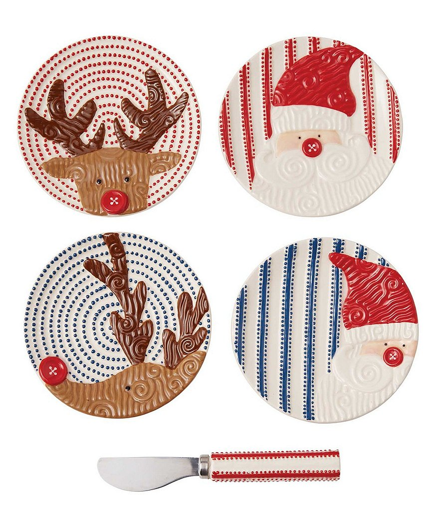 Mud Pie Holiday 5-Piece Tidbit Plates & Spreader Set