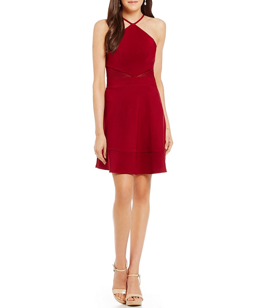Honey and Rosie Y-Halter Illusion Inserts Fit-and-Flare Dress