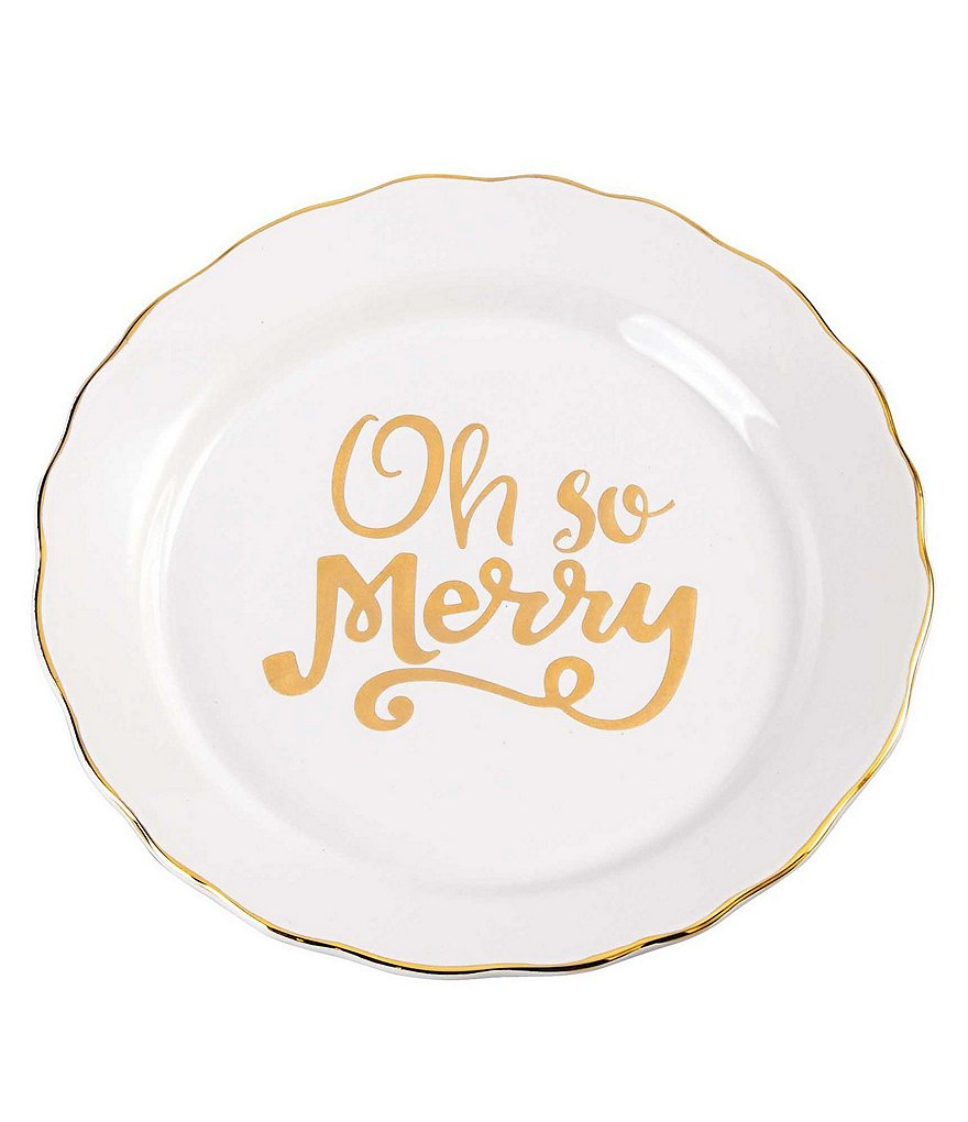 Mud Pie Holiday Oh So Merry Scalloped Plate