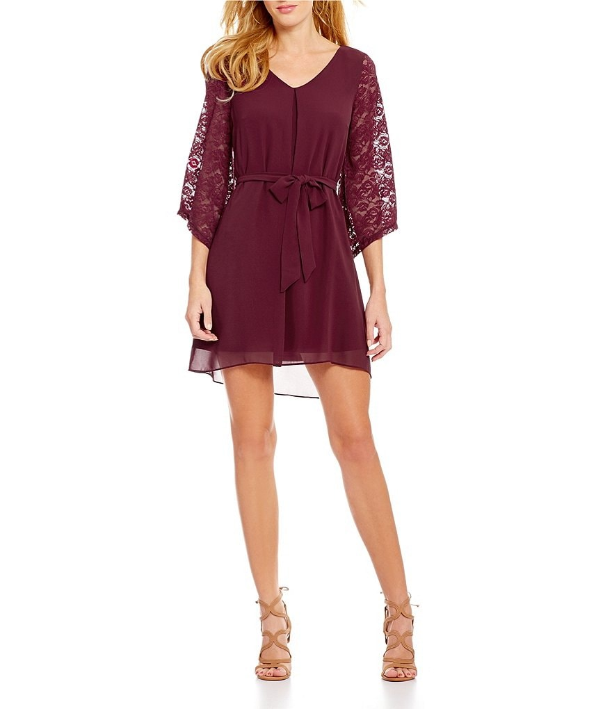 I.N. San Francisco Lace Sleeve Sash Waist Shift Dress