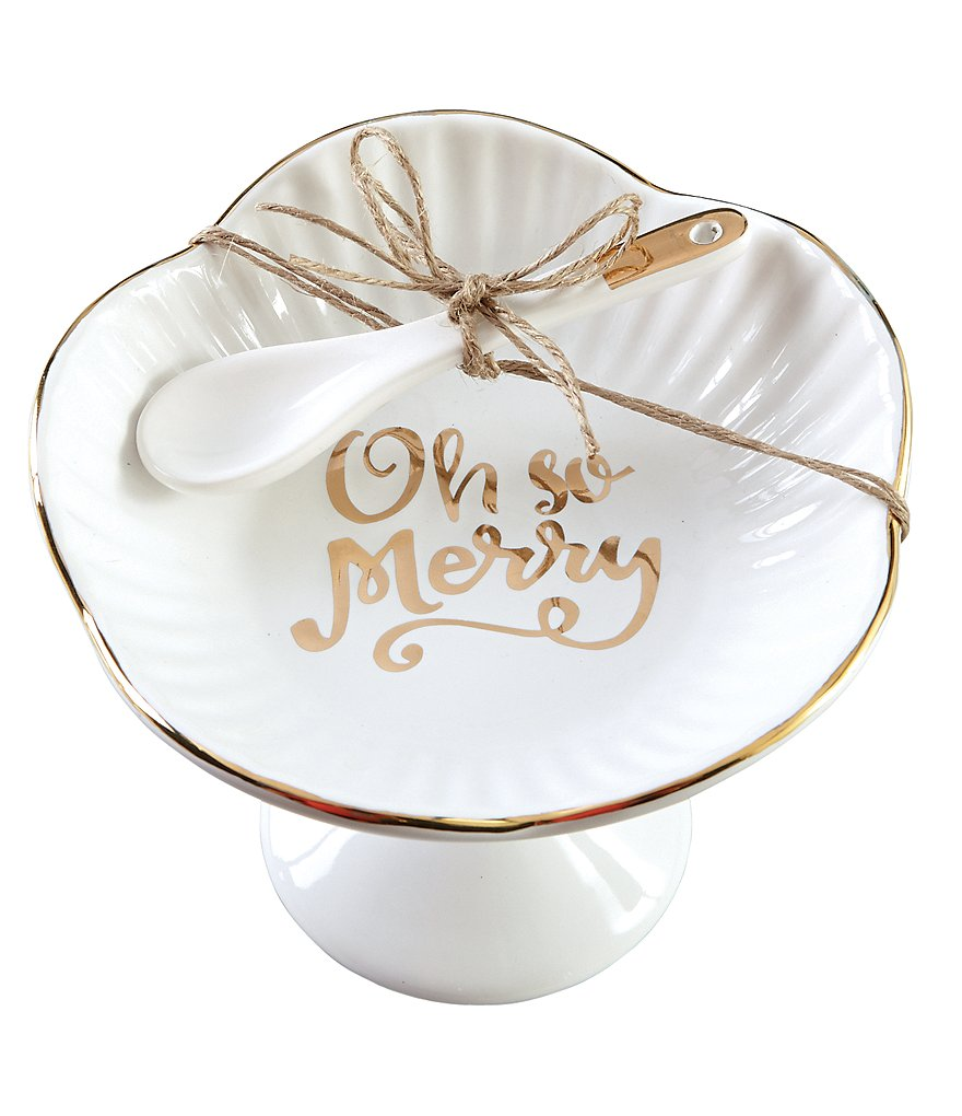Mud Pie Holiday Oh So Merry Pedestal Candy Dish
