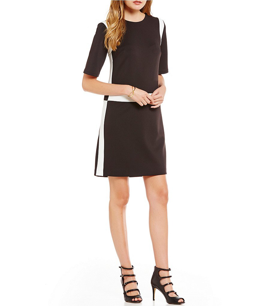 KARL LAGERFELD PARIS Scuba Crew Neck Color Block Dress