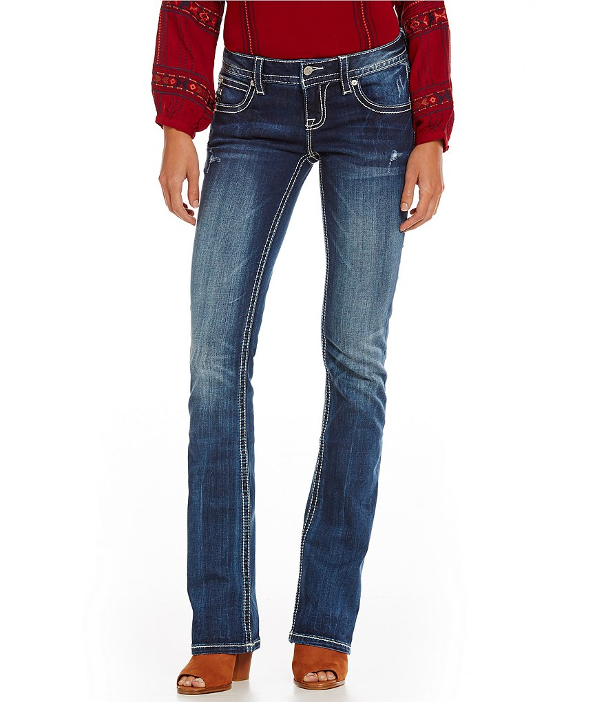Miss Me Feather Boho Slim Bootcut Jeans