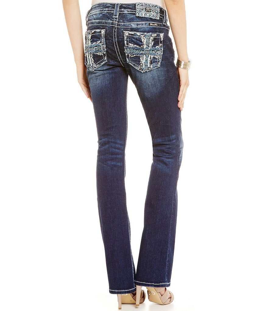 Miss Me Sequin Embroidered Cross Pocket Bootcut Jeans