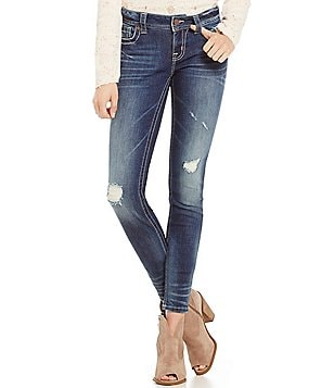 Miss Me Faded Whiskered Destructed Skinny Jeans