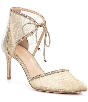 Imagine Vince Camuto Mark Metallic Glitter Lace-Up Dress Pumps