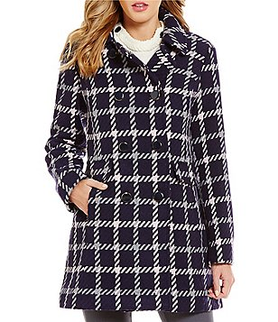 kate spade new york Club Collar Double Breasted Wool Plaid Coat