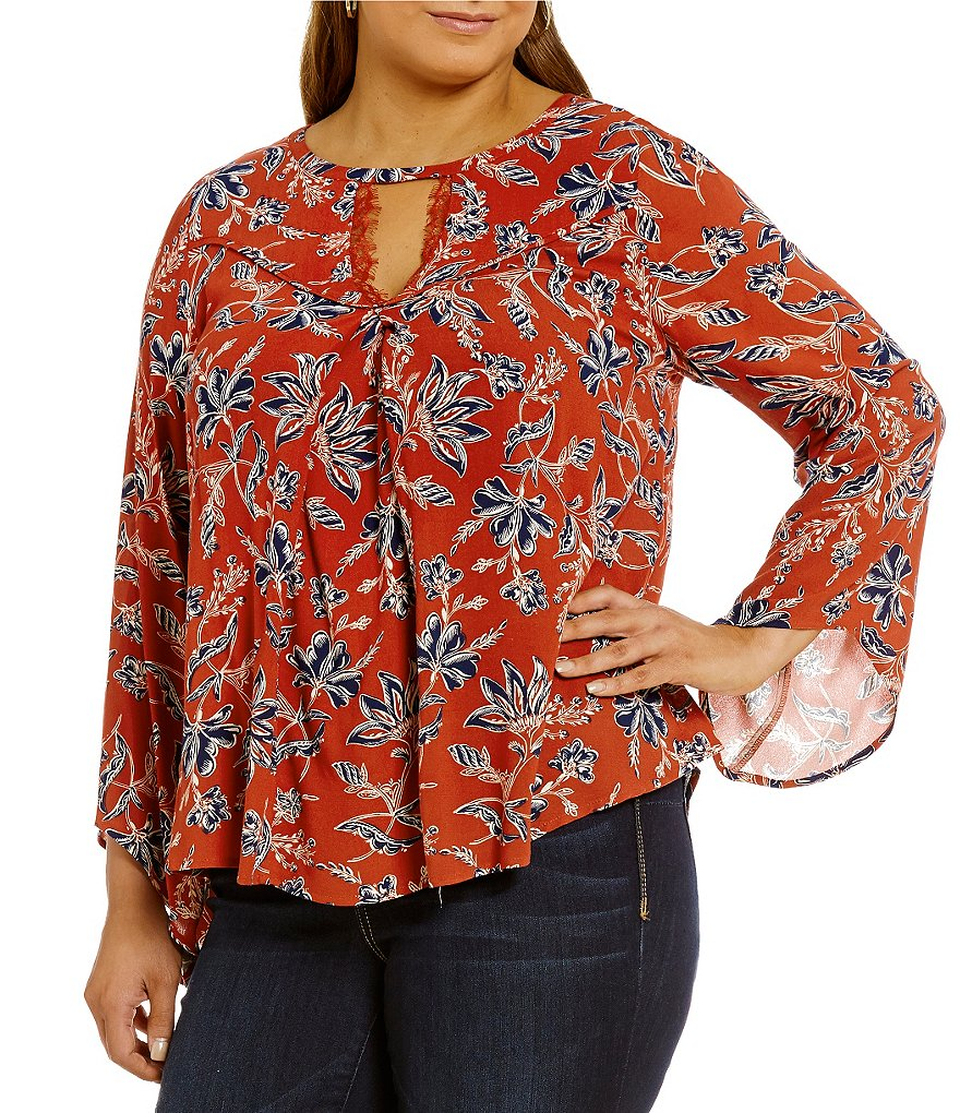 Democracy Plus Angel Sleeve Key-Hole Printed Top