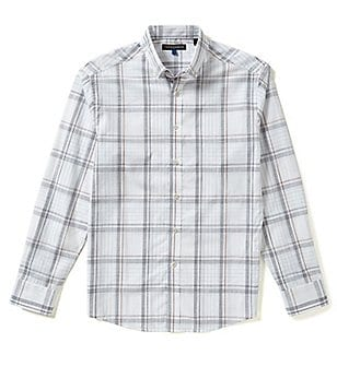 Vince Camuto Long-Sleeve Pique Plaid Woven Shirt
